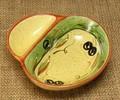 ポルトガル製 陶器 手描き オリーブ柄 食器 コンビトレー グリーン ソース ディップ  仕切り付きg_ov