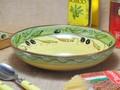 ポルトガル製 陶器 手描き オリーブ柄 食器 パスタ カレー皿  グリーン ボウル(20cm)