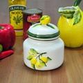 イタリア製 食器 レモン レリーフ キャニスター シュガーポット 蓋つき 保存容器