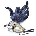 イタリア製 ベネチアマスク ブラックフェザー  ブラック ゴールド 黒 金