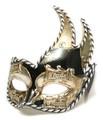 イタリア製 ベネチアンカーニバルマスク エルバ【ERBA】 ブラック 黒 金bce