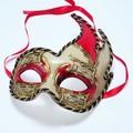 イタリア製ベネチアンカーニバルマスク エルバ【ERBA】・レッド 赤・金