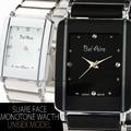 【ユニセックス仕様】★モノトーンスクエア&ストーン腕時計【保証書付】