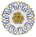 ポルトガル製 アルコバッサ 飾り皿 花柄 プレート イエロー ブルー ハンドペイント 絵皿 40cm 壁掛け