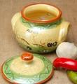 ポルトガル製 陶器 手描き オリーブ柄 食器 ガーリックポット にんにく入れ 保存ケース ストッカー