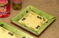 ポルトガル製 陶器 手描き オリーブ柄 食器 スクエア プレート グリーン(15cm)