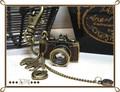 □■  リアルなレザー張りカメラ チャーム付きKEYリング 1 ■□