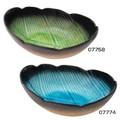 ■美濃焼陶器単品 ■風趣 葉型カレー皿 グリーン・ブルー