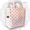 【6色展開】《ひょっこり猫の水玉シリーズ》ミニサイズのトートバッグ☆