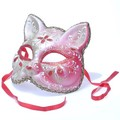 イタリア製ベネチアマスク【Il Gatto】キャッツ・ねこ型仮面レッド 赤 ゴールドbce