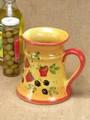 【ポルトガル製】陶器 手描き ストロベリー フルーツ柄 おしゃれな ピッチャー イエロー 水差し カラフェ
