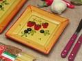 【ポルトガル製】陶器 手描き ストロベリー フルーツ柄 食器 スクエア プレート(15cm)ケーキ皿