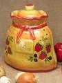 【ポルトガル製】陶器製 手描き ストロベリー フルーツ柄 ガーリックポット イエロー ニンニク入れ