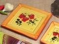 【ポルトガル製】陶器 手描き ストロベリー フルーツ柄 ケーキプレート イエロー(20cm) 角皿