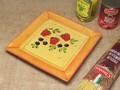 【ポルトガル製】陶器 手描き ストロベリー フルーツ柄 ディナープレート(25cm)スクエア 角皿