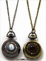 **** キャッツアイ&ラインストーン 懐中時計ロングネックレス  3カラー 懐中時計ネックレス ****