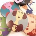 【3柄各2色展開】《オリジナル手鏡》キュートでポップなカラーが可愛い丸鏡