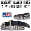 BRACKNEY LEATHER WORKS  2 PYRAMID  STUD  LEATHER BELT 13669