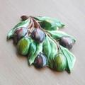 イタリア製 陶器 壁掛け ブラックオリーブ グリーン オリーブ キッチン アクセサリー 雑貨 ウォールデコ