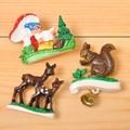【森の仲間が大集合♪】ドイツ製ブローチ(キノコ&小人)・(リス+ベル)・(鹿の親子)