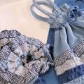 【3色展開】《ブルーフリル》ガーゼ巾着☆フリルが華やか♪ガーゼ素材のシリーズ☆