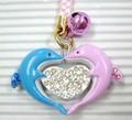 【ブルーとピンクのらぶらぶペアー!】キラキラ ドルフィン ハート ストラップ