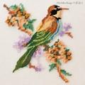 【刺繍シート】スズメと花