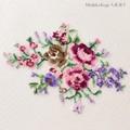 【刺繍シート】淡いバラのブーケ