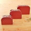 【見せる収納にもオススメ♪】紙製スーツケースセット(トリムなし)レッド