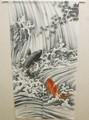 【直送可】日本画風・縁起物のれん『鯉の滝登り(こいのたきのぼり)』グレー85×150cm