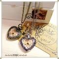 ●●● ヨーロッパアンティーク風 ハートの時計ネックレス 2カラー ●●●