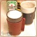 【日本製】陶器と革の職人が作ったタンブラー(水玉デザイン)[LH-7247] 【名入れ無料】