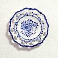 ポルトガル製 アルコバッサ 飾り皿 花柄 プレート ホワイト ハンドペイント 絵皿 19cm 壁掛け