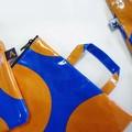 【3色展開】《大きな水玉シリーズ》持ち手の付いたフラットポーチ☆
