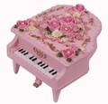 【 ミニピアノ型オルゴール 】  ピンク・ホワイト  ♪ありがとう / ノクターン