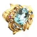 K18大粒アクアマリン・トパーズ・サファイア 宝石リング#13【FOREST 天然石 パワーストーン】
