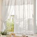 【小窓用カーテン】白花刺繍とビーズをあしらったロングセラーアイテム シュガー
