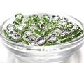 【パーツ】カラーロンデル 薄緑(G-3) [100個セット]【天然石 パワーストーン】