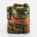 【天然石モチーフビーズ】招き猫 ユナカイト 財・右手あげ (約20x15mm)【天然石 パワーストーン】