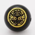 【天然石彫刻ビーズ】オニキス 12mm (金彫り) 戦国武将「上杉謙信」(横穴)【天然石 パワーストーン】