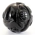 【天然石彫刻ビーズ】オニキス 12mm (素彫り) 登竜紋【天然石 パワーストーン】