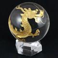 【天然石彫刻置物】丸玉 水晶30mm (金彫り) 青龍【天然石 パワーストーン】