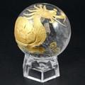 【天然石彫刻置物】丸玉 水晶40mm (金彫り) 龍亀(ろんぐい)【天然石 パワーストーン】