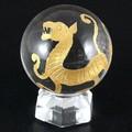 【天然石彫刻置物】丸玉 水晶40mm (金彫り) 白虎【天然石 パワーストーン】
