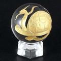 【天然石彫刻置物】丸玉 水晶40mm (金彫り) 玄武【天然石 パワーストーン】