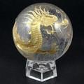 【天然石彫刻置物】丸玉 水晶40mm (金彫り) 五爪龍【天然石 パワーストーン】