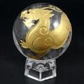 【天然石彫刻置物】丸玉 水晶40mm (金彫り) ヤアズ【天然石 パワーストーン】
