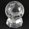 【天然石彫刻置物】丸玉 水晶50mm (素彫り) 白虎【天然石 パワーストーン】
