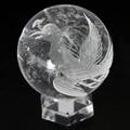 【天然石彫刻置物】丸玉 水晶50mm (素彫り) 鳳凰【天然石 パワーストーン】