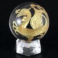 【天然石彫刻置物】丸玉 水晶50mm (金彫り) 朱雀【天然石 パワーストーン】